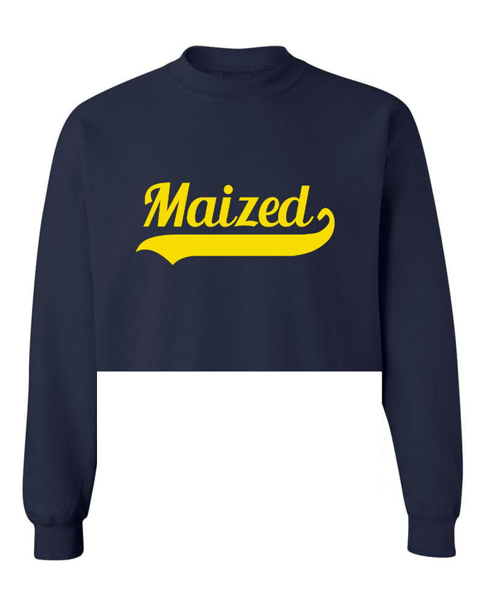 Maized Raw Hem Cropped Sweatshirt