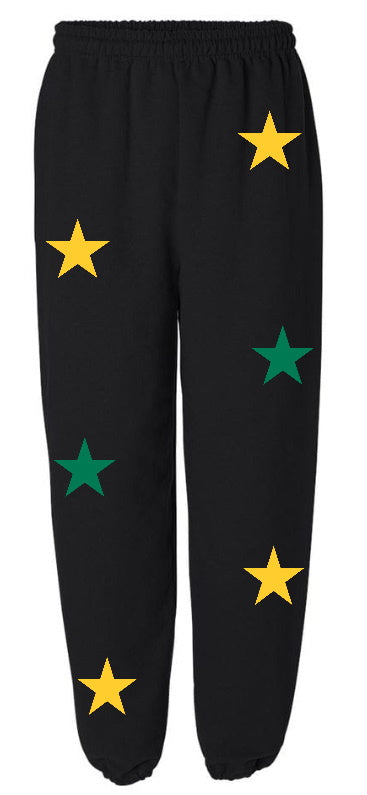 Star Power Black Sweatpants with Green and Yellow Stars