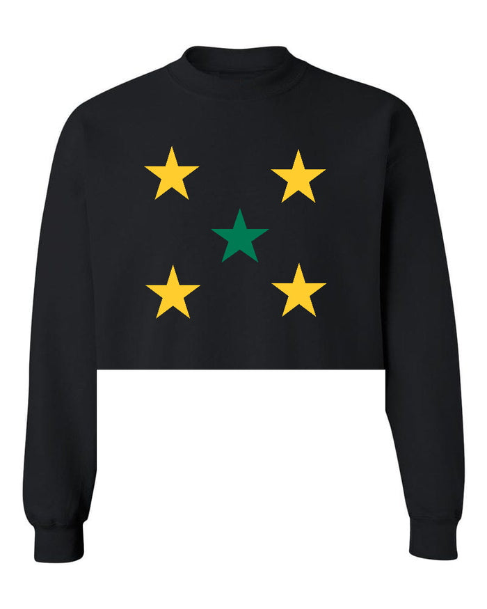 Star Power Black Raw Hem Cropped Sweatshirt with Green and Yellow Stars