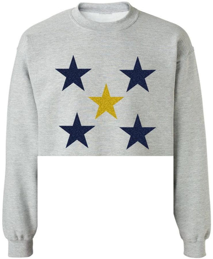Glitter Star Raw Hem Cropped Sweatshirt