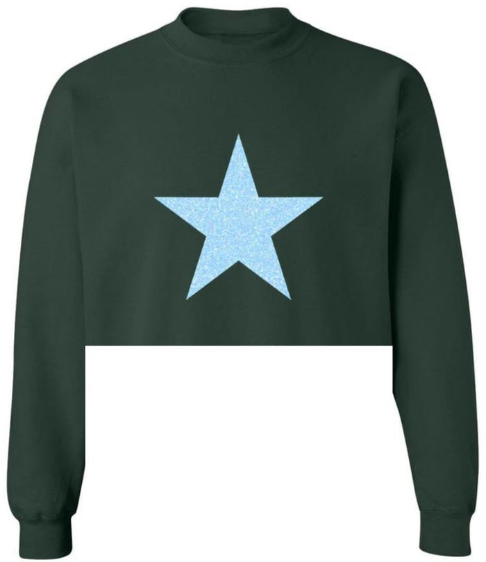 Glitter Star Raw Hem Cropped Green Sweatshirt