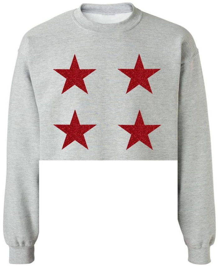 Star Power Grey Raw Hem Cropped Sweatshirt with Red Glitter Stars