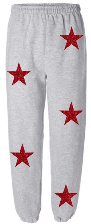 Star Power Grey Sweatpants with Red Glitter Stars