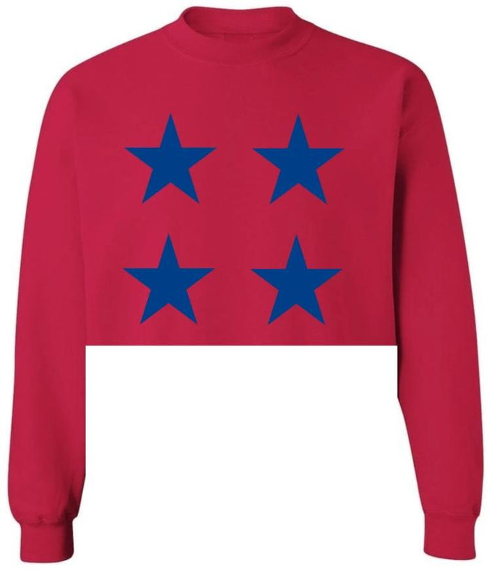 Star Power Red Raw Hem Cropped Sweatshirt with Royal Blue Stars