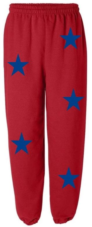 Star Power Red Sweatpants with Royal Blue Stars