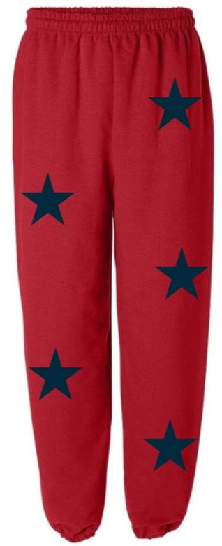 Star Power Red Sweatpants with Navy Stars