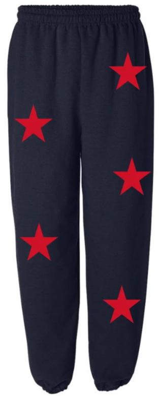 Star Power Navy Sweatpants with Red Stars