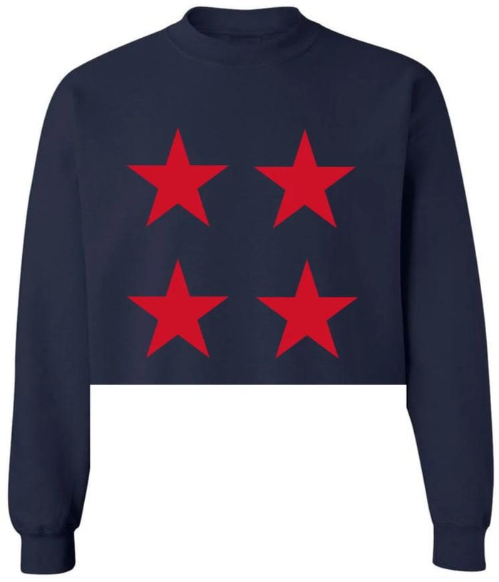 Star Power Navy Raw Hem Cropped Sweatshirt with Red Stars