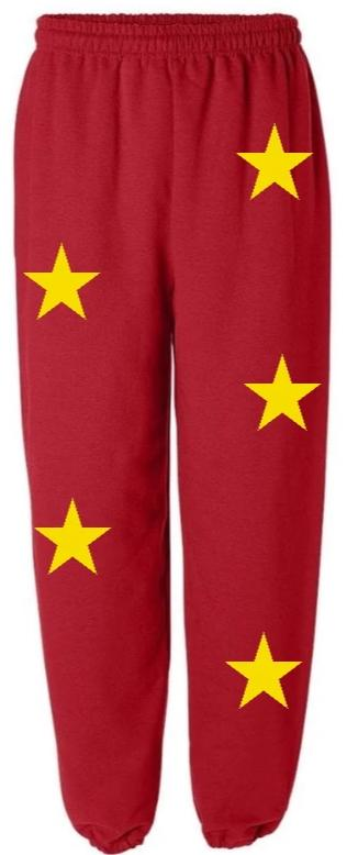 Star Power Red Sweatpants with Gold Stars