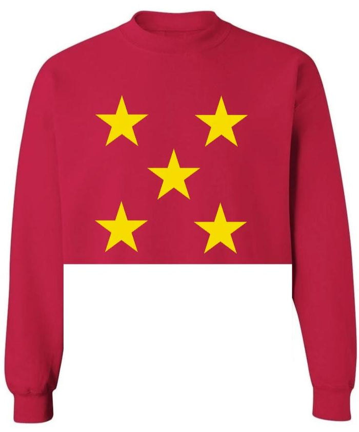Star Power Red Raw Hem Cropped Sweatshirt with Gold Stars