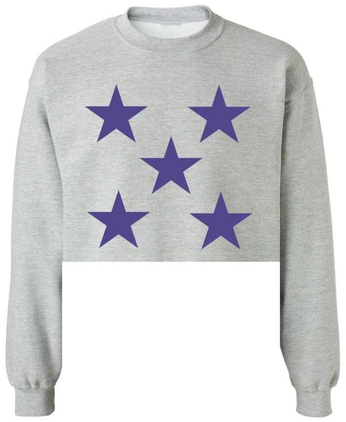 Star Power Grey Raw Hem Cropped Sweatshirt with Purple Stars