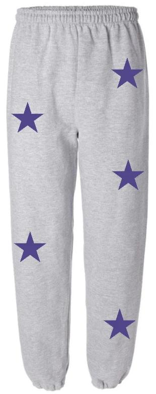 Star Power Grey Sweatpants with Purple Stars