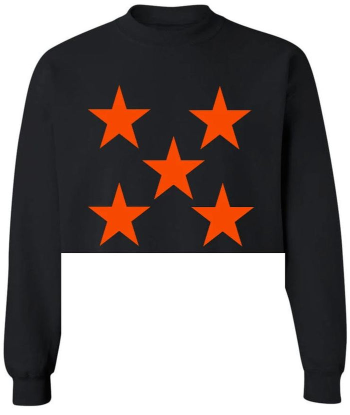 Star Power Black Raw Hem Cropped Sweatshirt with Orange Stars