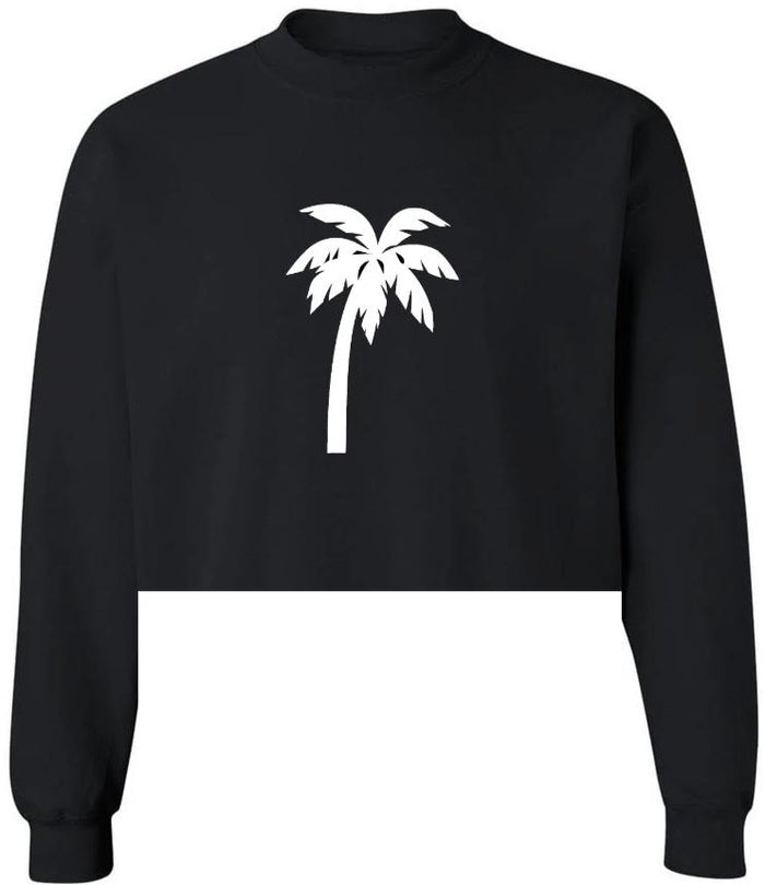 Paradised Raw Hem Black Cropped Sweatshirt