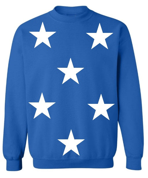 Star Power Royal Blue Crew Neck Sweatshirt with White Stars