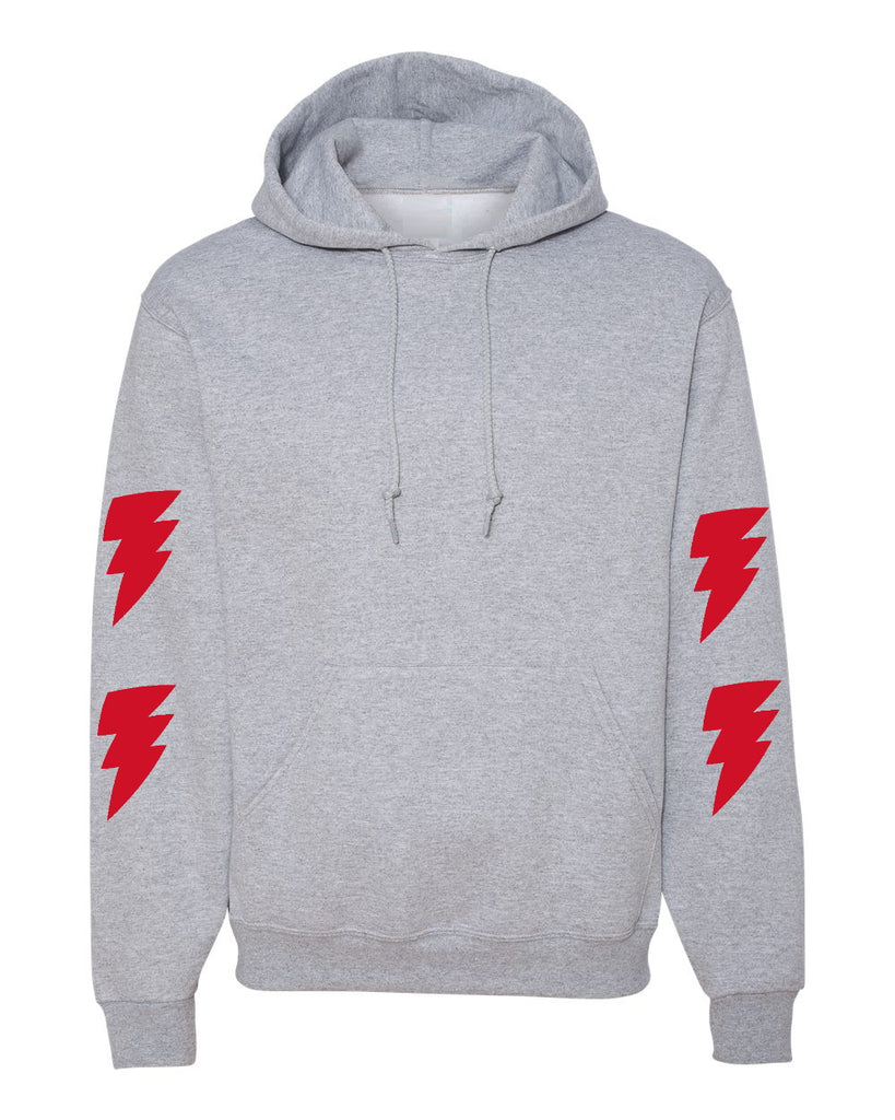 One Wish Grey Hoodie with Red Lightning Bolts