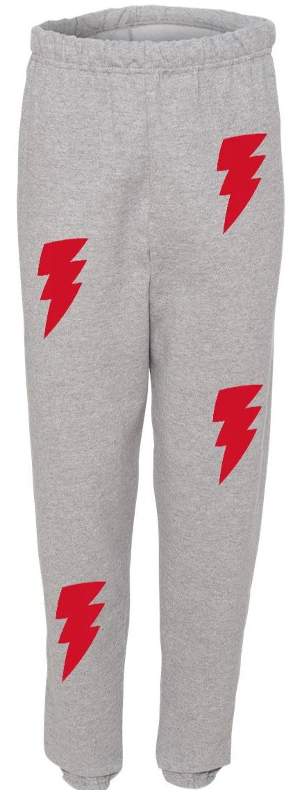Lightning Bolt Grey Sweatpants with Red Bolts