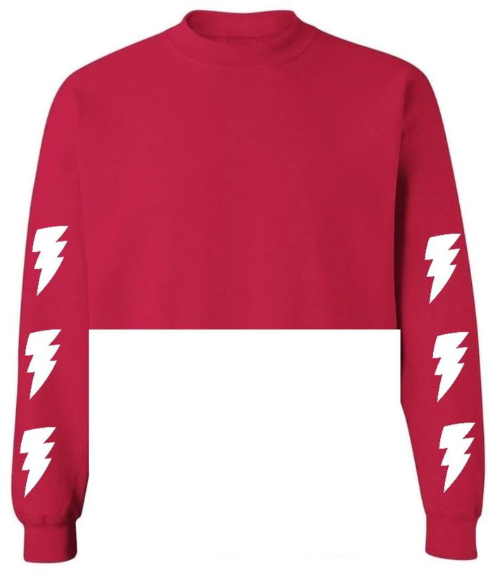 Lightning Bolts Red Raw Hem Cropped Sweatshirt with White Bolts