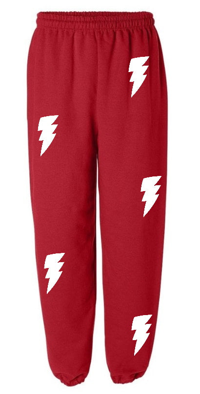 Lightning Bolt Red Sweatpants with White Bolts