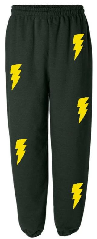 Lightning Bolts Green Sweatpants with Yellow Bolts