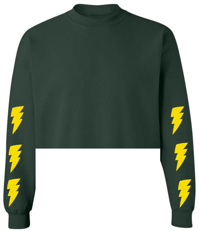 Lightning Bolts Green Raw Hem Cropped Sweatshirt with Yellow Bolts