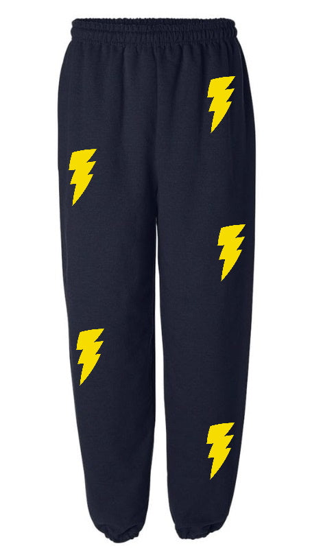 Lightning Bolt Navy Sweatpants with Yellow Bolts