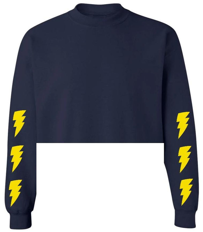 Lightning Bolt Navy Raw Hem Cropped Sweatshirt with Yellow Bolts