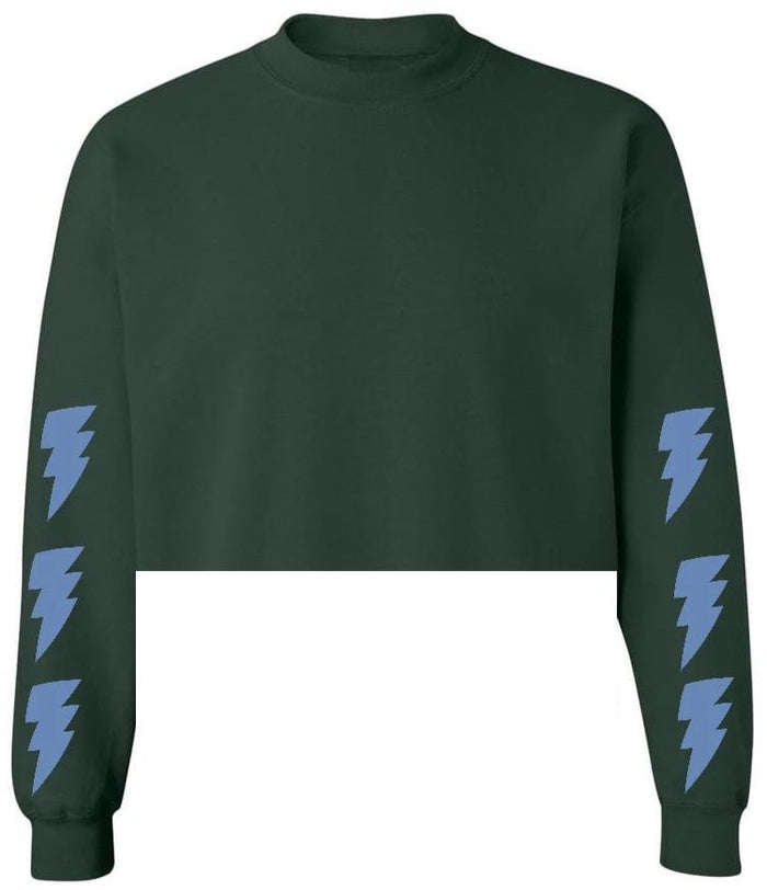 Lightning Bolt Green Raw Hem Cropped Sweatshirt with Blue Bolts