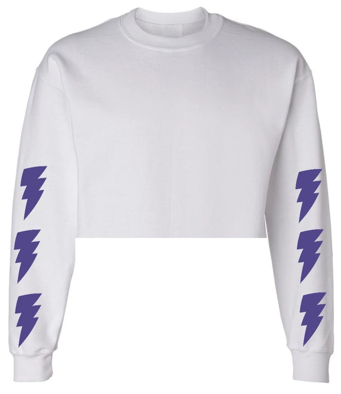 Lightning Bolt White Raw Hem Cropped Sweatshirt with Purple Bolts