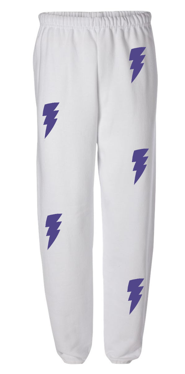 Lightning Bolt White Sweatpants with Purple Bolts