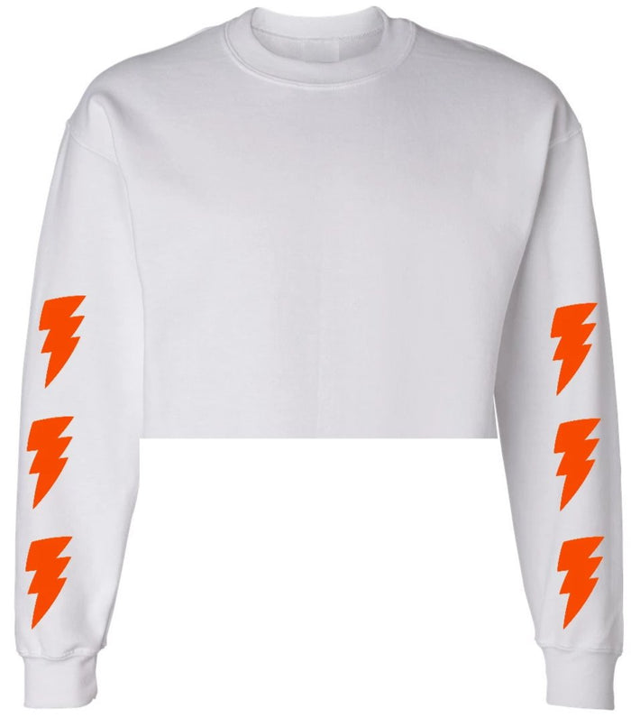 Lightning Bolts White Raw Hem Cropped Sweatshirt with Orange Bolts