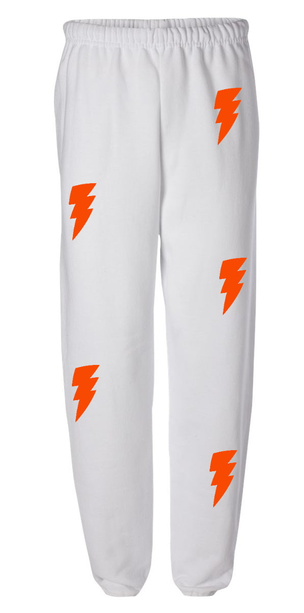 Lightning Bolts White Sweatpants with Orange Bolts
