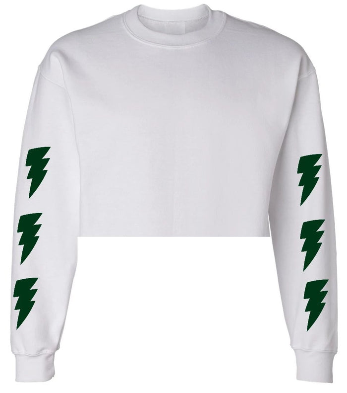 Lightning Bolts White Raw Hem Cropped Sweatshirt with Green Bolts
