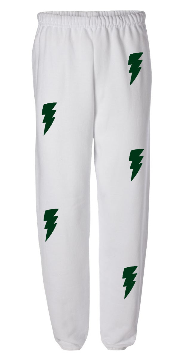 Lightning Bolts White Sweatpants with Green Bolts