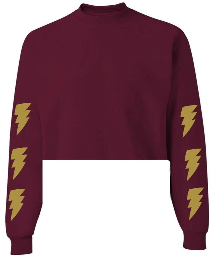 Lightning Bolt Maroon Raw Hem Cropped Sweatshirt with Gold Bolts
