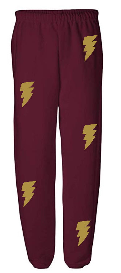Lightning Bolt Maroon Sweatpants with Gold Bolts