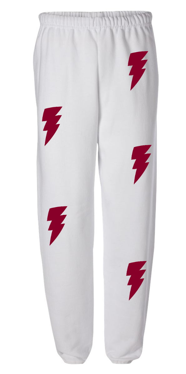 Lightning Bolt White Sweatpants
