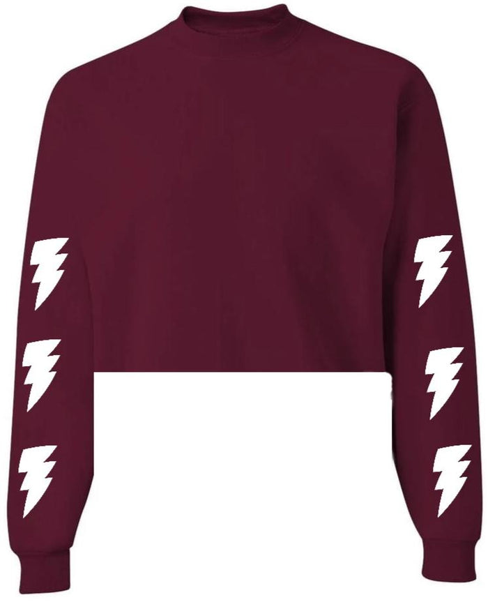 Lightning Bolts Maroon Raw Hem Cropped Sweatshirt with White Bolts
