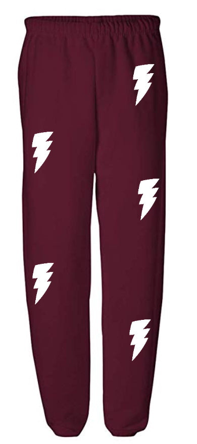 Lightning Bolt Maroon Sweatpants with White Bolts