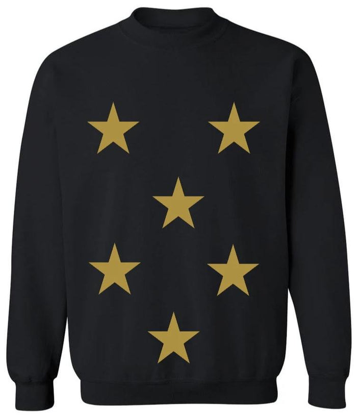 Star Power Black Crew Neck Sweatshirt with Gold Stars