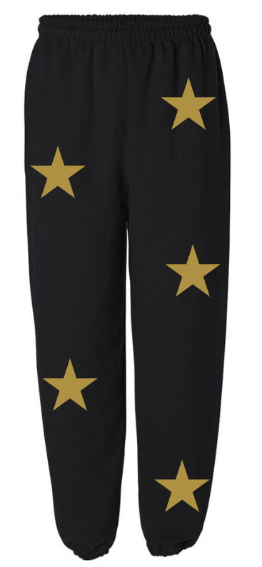 Star Power Black Sweatpants with Gold Stars