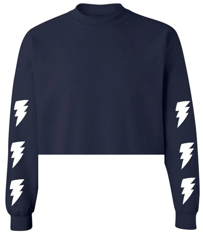 Lightning Bolts Navy Raw Hem Cropped Sweatshirt with White Bolts