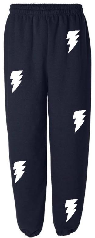Lightning Bolts Navy Sweatpants with White Bolts