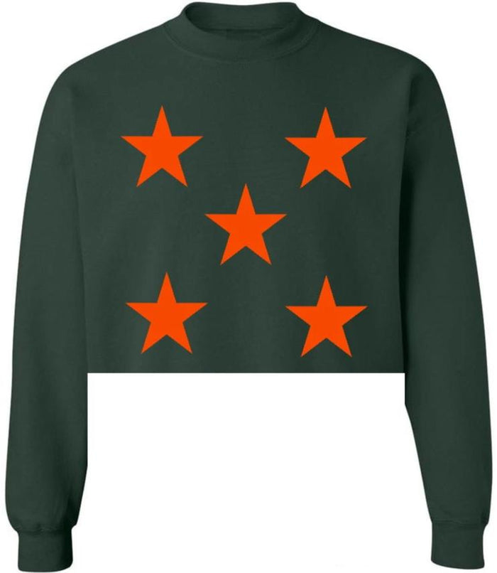 Star Power Green Raw Hem Cropped Sweatshirt with Orange Stars