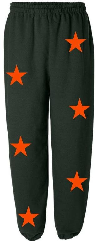 Star Power Green Sweatpants with Orange Stars