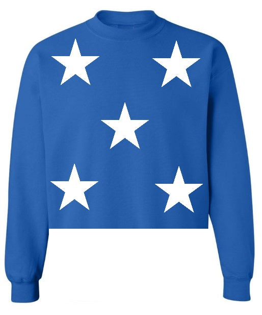 Star Power Royal Blue Raw Hem Cropped Sweatshirt with White Stars