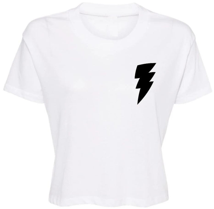 Lightning Bolt Cropped Tee - Black Bolt