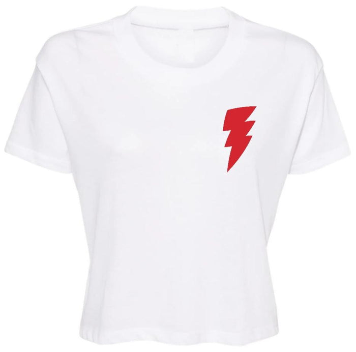 Lightning Bolt Cropped Tee - Red Bolt