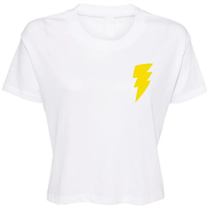 Lightning Bolt Cropped Tee - Yellow Bolt