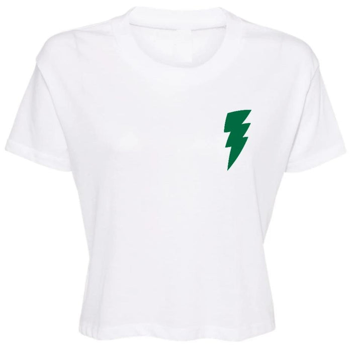 Lightning Bolt Cropped Tee - Green Bolt